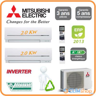 climatisation reversible bi split mitsubishi electric mxz 2d40va 2 msz sf20va discount. Black Bedroom Furniture Sets. Home Design Ideas