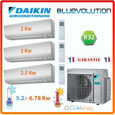 ensemble daikin tri split climatisation r versible 3mxm52m. Black Bedroom Furniture Sets. Home Design Ideas