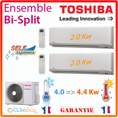 clim bi splits toshiba ras m14gav e 2x ras m07n3kv2 e. Black Bedroom Furniture Sets. Home Design Ideas