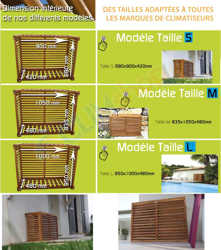 Cache compresseur de climatiseur extérieur en bois exotique