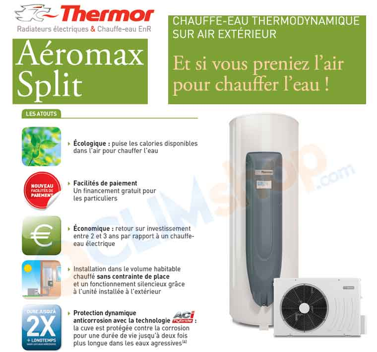chauffe eau thermodynamique thermor a romax split 200 et 300 litres. Black Bedroom Furniture Sets. Home Design Ideas