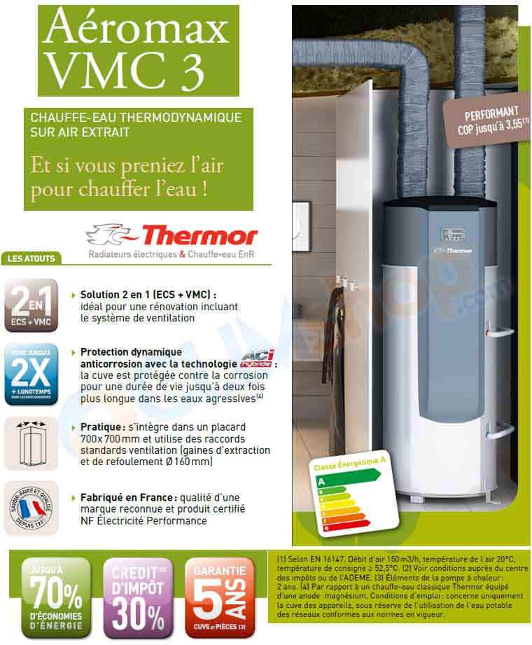 chauffe eau thermodynamique thermor a romax vmc 3 200 litres. Black Bedroom Furniture Sets. Home Design Ideas