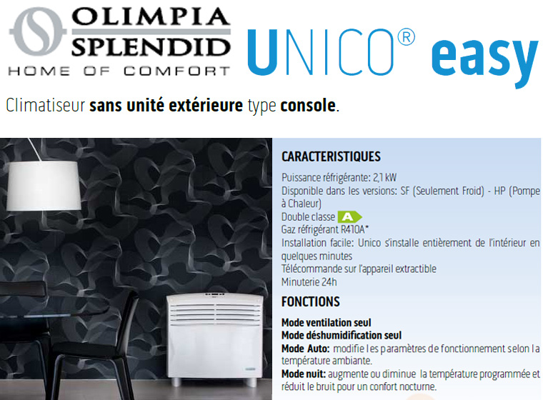 climatiseur unico easy sf et unico easy hp olimpia splendid. Black Bedroom Furniture Sets. Home Design Ideas