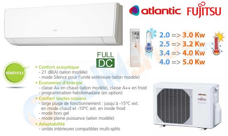climatisation atlantic fujitsu asyg 7 lmc asyg 9 lmc. Black Bedroom Furniture Sets. Home Design Ideas
