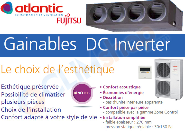 Présentation de la gamme de climatiseurs gainables Fujitsu atlantic ARYG LML