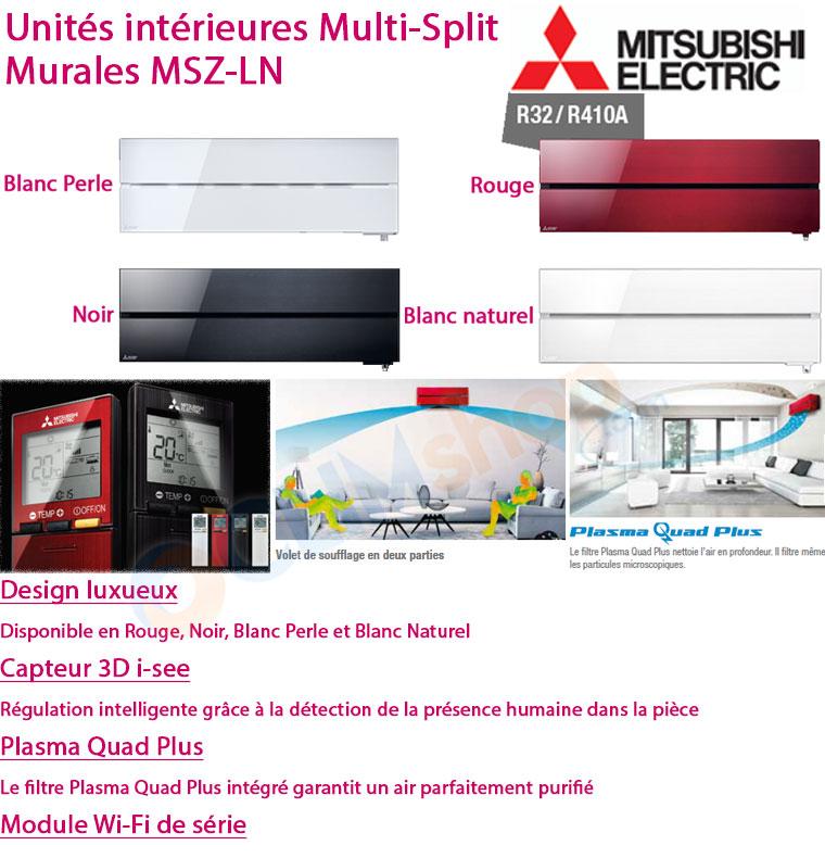 Présentation Unités intérieures design MSZ-LN25VG - MSZ-LN35VG R/V/W/B