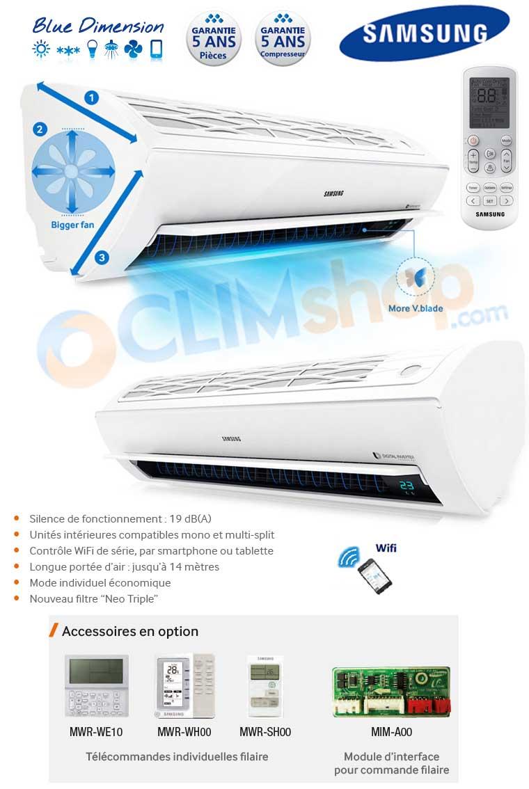 Climatisation r versible samsung trisplit aj068fcj3eheu avec ar12kswsbwknet e - Clim reversible samsung ...