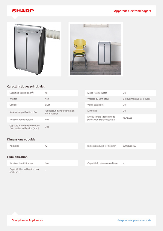 climatiseur mobile silencieux sharp cv p10pr avec purificateur d 39 air plasmacluster. Black Bedroom Furniture Sets. Home Design Ideas