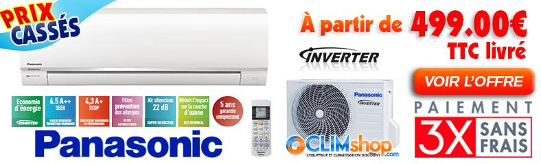 Climatiseur réversible Panasonic Inverter Standard KIT-UE9-RKE - KIT-UE12-RKE - KIT-UE18-RKE