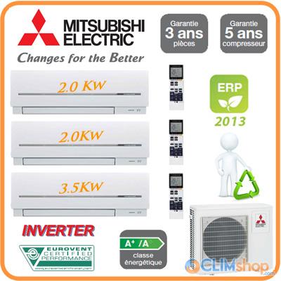 Climatiseur Tri Split Mitsubishi Electric Mxz-3D68Va + 2 Msz