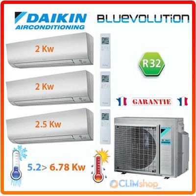 ensemble daikin tri split climatisation r versible 3mxm52m 2 ftxm20m 1 ftxm25m au gaz r32. Black Bedroom Furniture Sets. Home Design Ideas