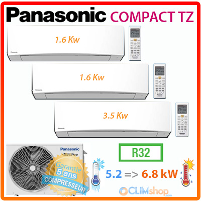 tri split climatiseur r versible panasonic r32 cu 3tz52tbe cs mtz16tke cs tz35tkew. Black Bedroom Furniture Sets. Home Design Ideas