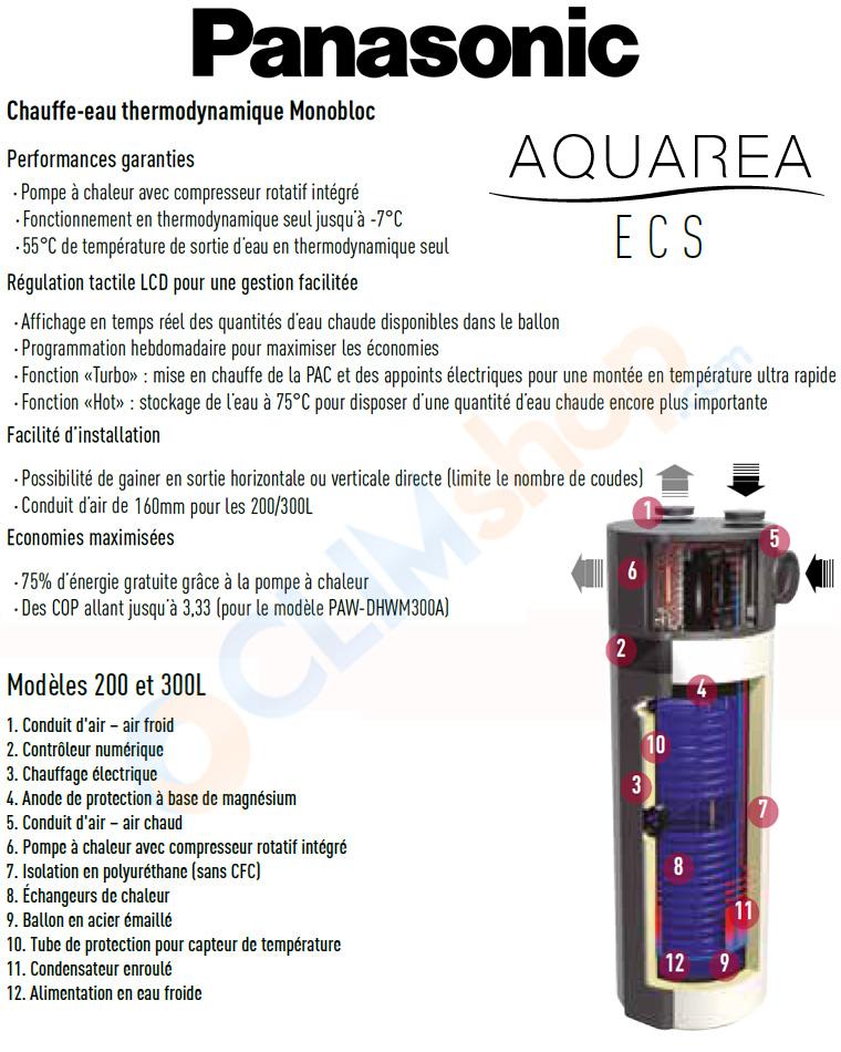 Chauffe eau thermodynamique panasonic monobloc aquarea paw - Temps de chauffe ballon eau chaude 200 litres ...