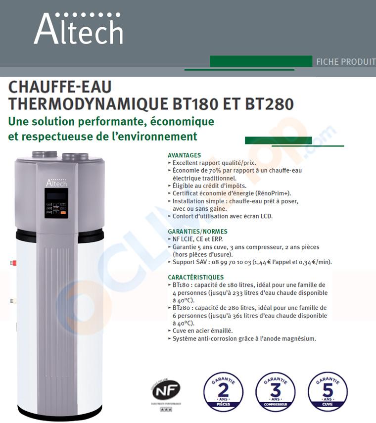 chauffe eau thermodynamque monobloc Altech, modèles BT180 et BT 280
