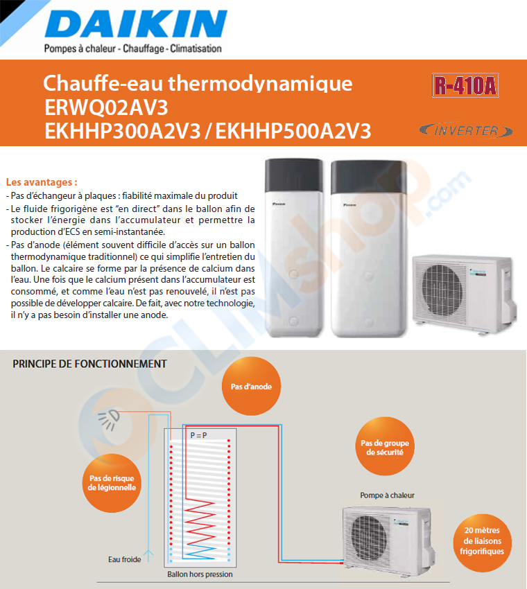 Présentation des chauffes eau thermodynamique Split de Daikin