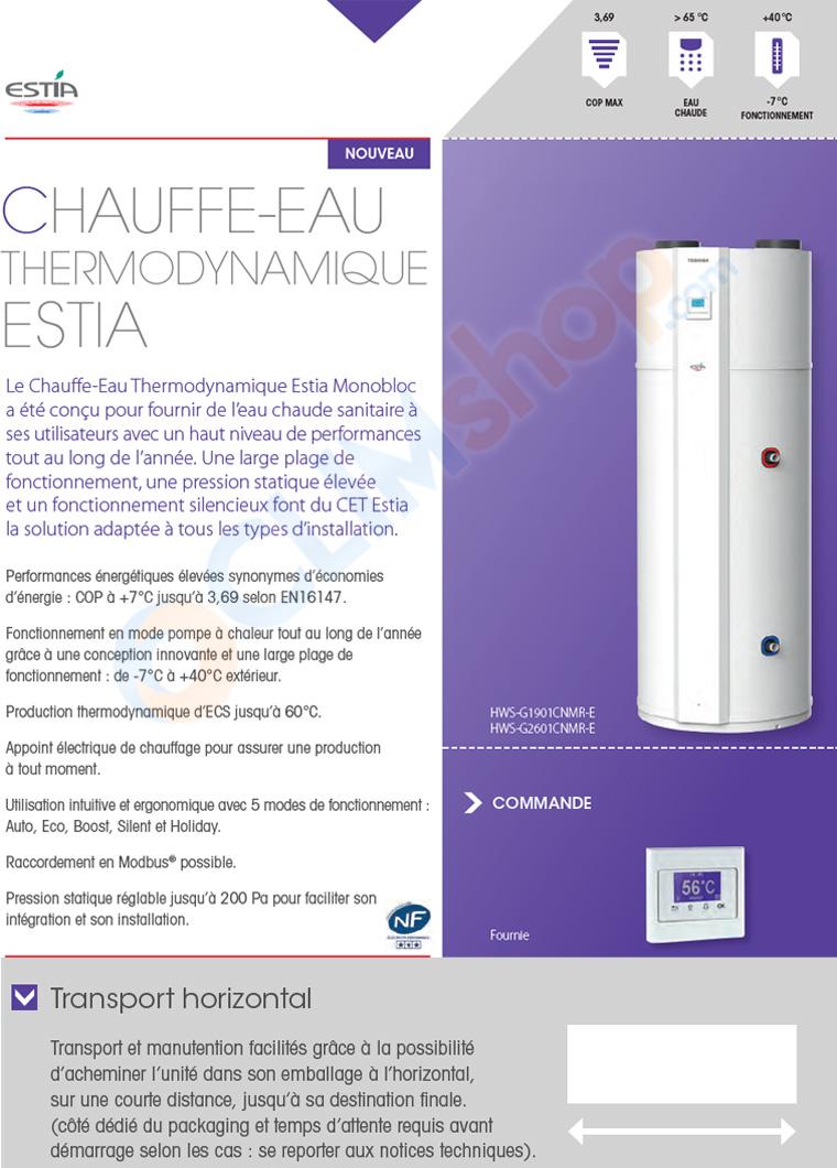 Chauffe eau thermodynamique Toshiba ESTIA 190 et 260 L