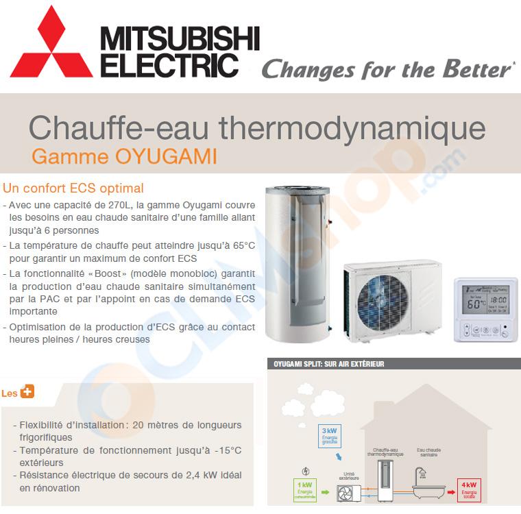 fiche de présentation du chauffe eau thermodynamique Oyugami Split par Mitsubishi