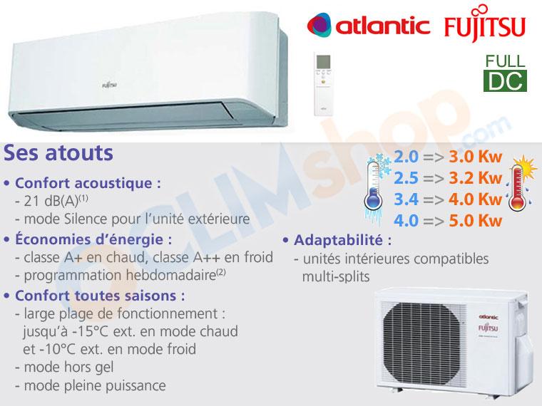 Fiche de présentation des climatisations monosplit LMCE d'Atlantic
