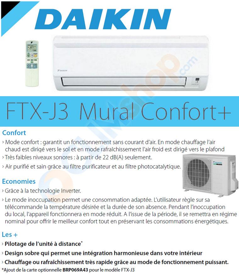 Description du climatiseur FTX35J3 Daikin gamme confort