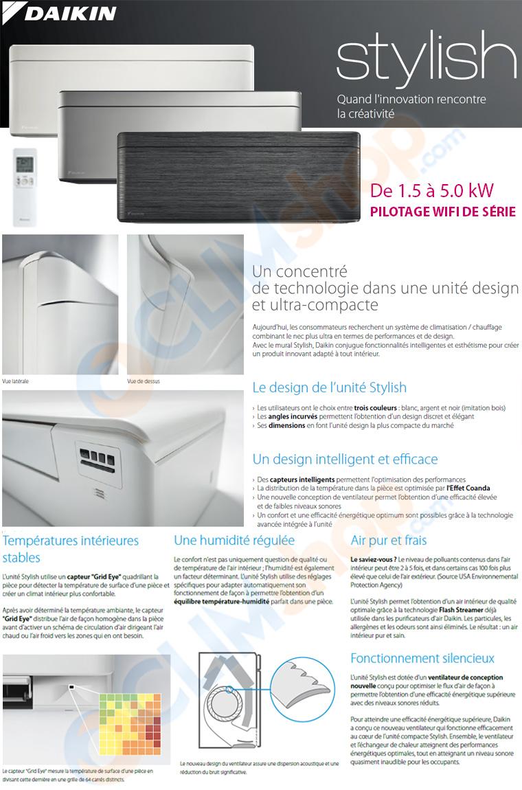 Description de la gamme d'unités intérieures Stylish pour configuration multisplit Daikin
