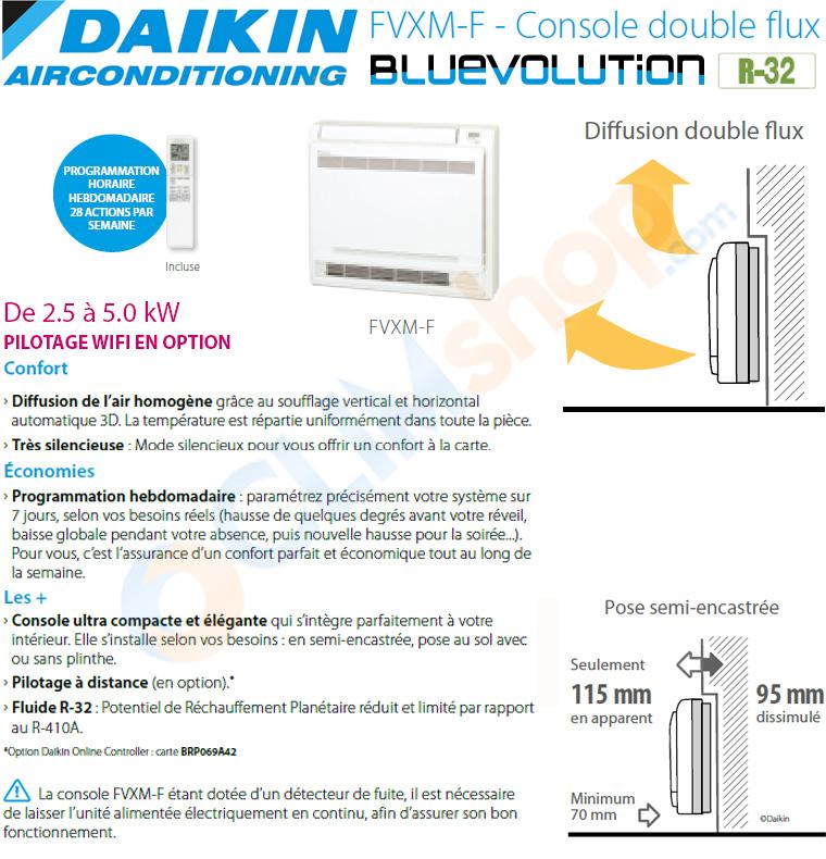 Présentation des consoles seules FVXM-F compatibles avec les groupes extérieurs multisplit fonctionnant au gaz R32 de la marque Daikin