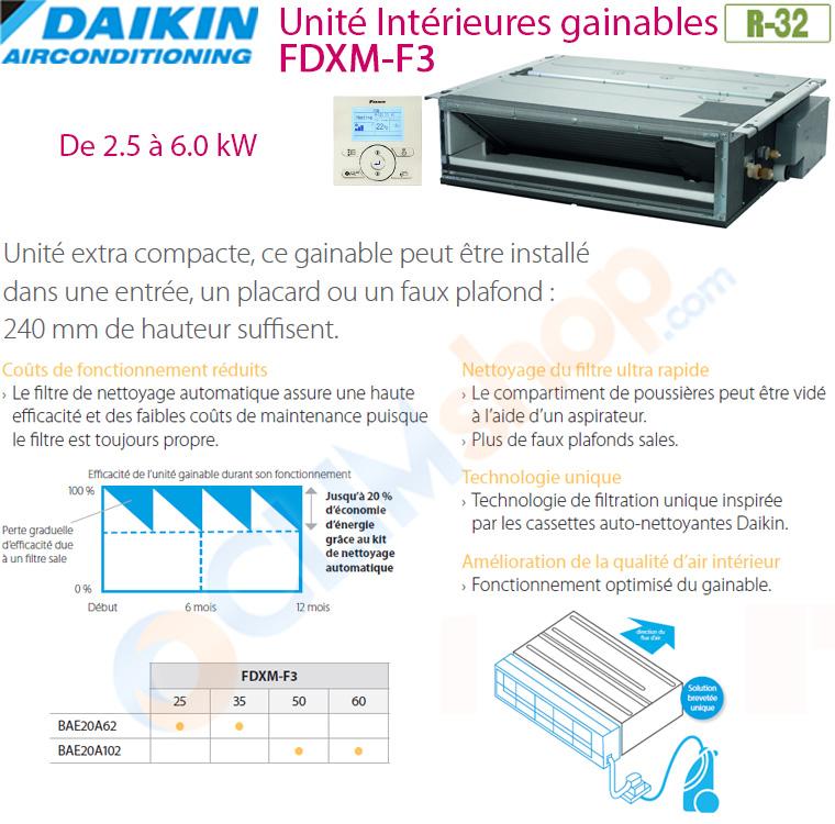 Unités intérieures mini gainable FDXM-F3 pour pack multisplit R32
