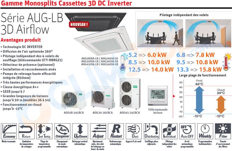 Présentation des cassettes monosplit 3D Airflow GENERAL Fujitsu