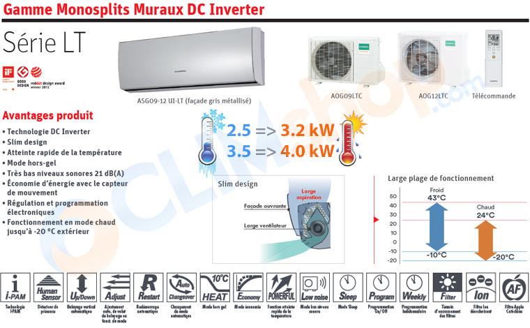 Description climatiseurs Série LT General Fujitsu