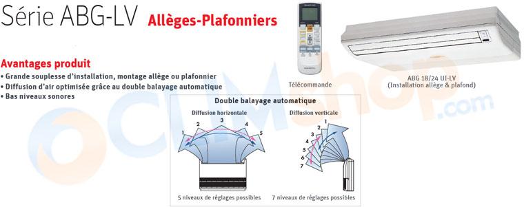 Présentation des unités intérieures ABG-LV allèges-plafonniers Fujitsu GENERAL pour installation multisplit
