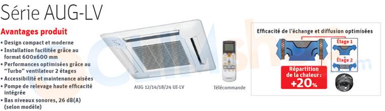 Description clim cassette intérieure pour installation multi-split réversible Fujitsu GENERAL