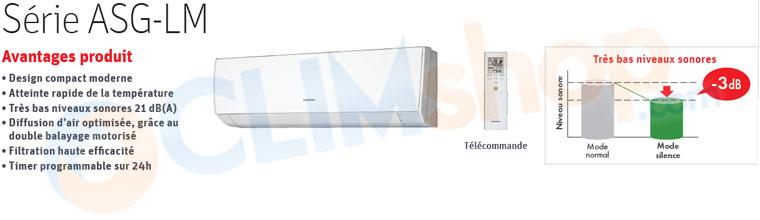 Présentation unité intérieure pour multi split General Fujitsu LM et LFCC