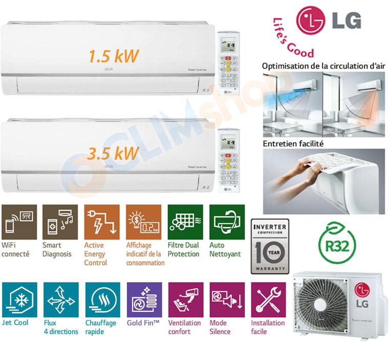 Présentation Bi-split LG MU2R17.UL0 + 1x PM05SP.NSJ + 1x PM12SP.NSJ