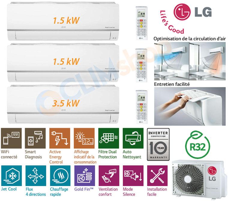Pack Tri-Split LG MU3R21 UE0 au gaz R32 avec unités murales Standard WI-FI