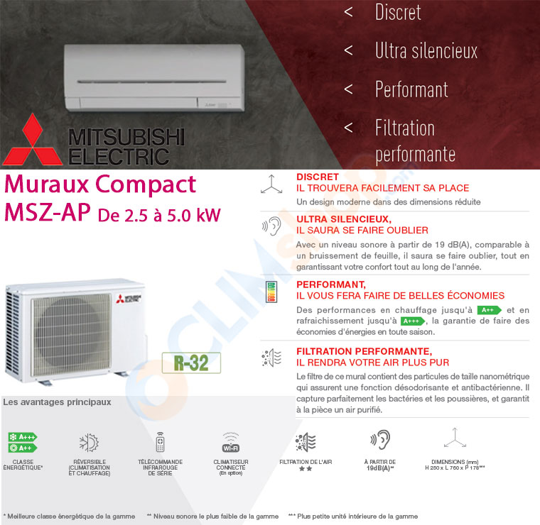 Présentation de la nouvelle gamme de climatiseurs compacts MSZ-AP de Mitsubishi Electric