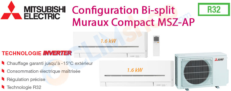 Ensemble Bi-split inverter Mitsubishi MXZ-2F33VF MSZ-AP15VF au gas R32