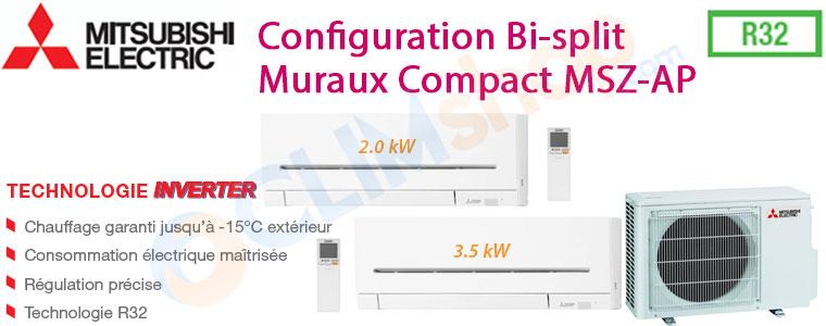 Pack Bi-split réversible MXZ-2FD3VF MSZ-AO20VF MSZ-AP35VG Mitsubishi electric