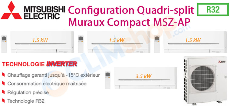 Mitsubishi electric MXZ-4F72VF MSZ-AP15VF MSZ-AP35VG Pack quadri-split