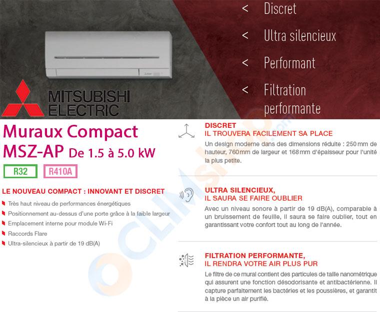 Présentation de la nouvelle gamme d'unités intérieures compactes MSZ-AP15VF - MSZ-AP20VF - MSZ-AP25VG - MSZ-AP35VG - MSZ-AP42VG - MSZ-AP50VG pour configuration multisplit de Mitsubishi Electric