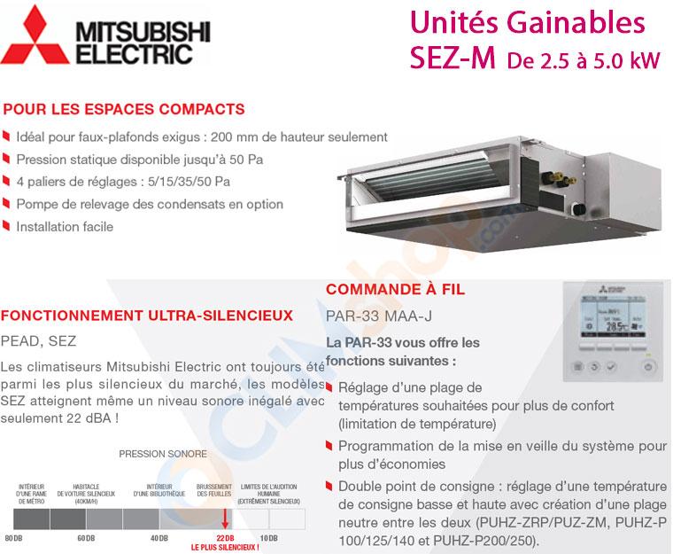 unités gainables compactes Mitsubishi Electric seules pour configuration multi split