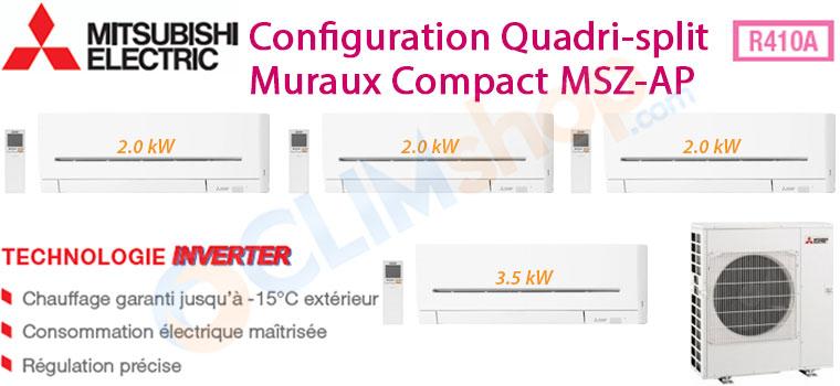 Descriptif quadri-splits Mitsubishi R410A