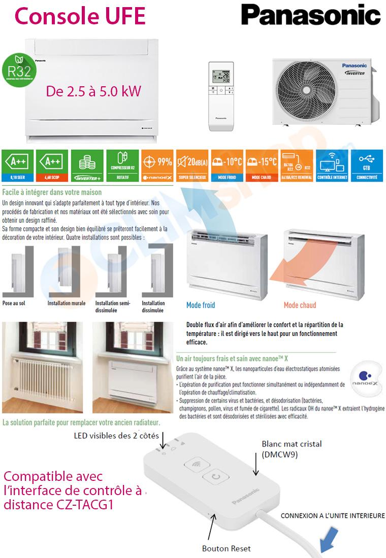 Consoles de climatisation R32 Panasonic avec purificateur d'air intégré