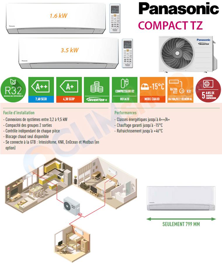 Panasonic configuration bisplit inverter CU-2TZ50TBE + CS-MTZ16TKE + CS-TZ35TKEW