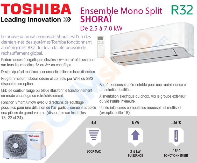 Présentation de la gamme SHORAÏ de Toshiba, climatisation murales au R32