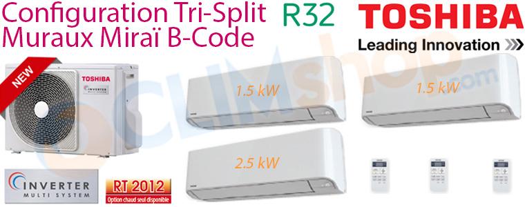 Fiche descriptive ensemble Toshiba Trisplit  RAS-3M18U2AVGE, 2x RAS-B05BKVGE et RAS-B10BKVGE