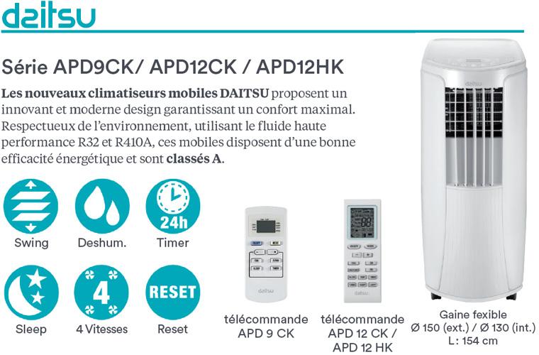 Présentation de la gamme mobile de clim Daitsu, disponible en froid seul ou version réversible jusqu'à 3.52 kW