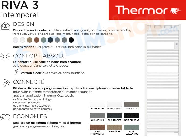 Présnetation des radiateurs sèche-serviettes Thermor Riva 3, disponible en 9 coloris