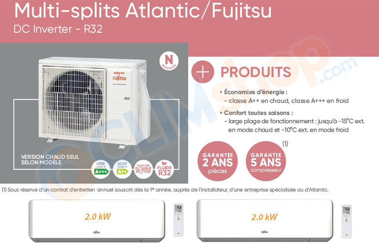 Présentation bi-spli Bi splits AOYG 14KBTA2.UE + 2x ASYG 7 KMTB.UI Atlantic Fujitsu R32