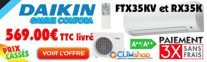 Promo climatiseur Daikin réversible inverter Comfora FTX35KV et RX35K - 3.5 Kw
