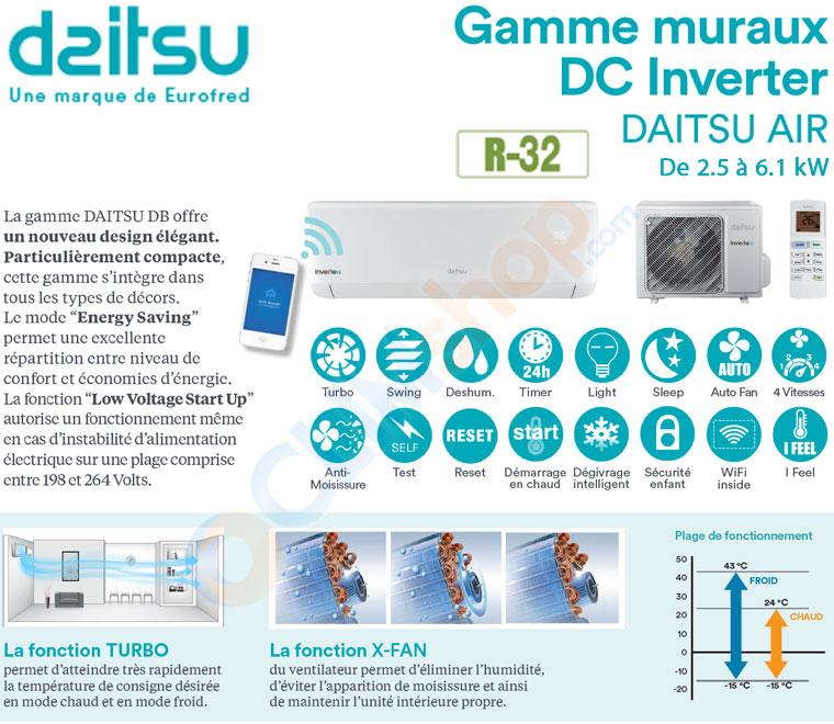 Présentation des clim Daitsu de la gamme KI-BD