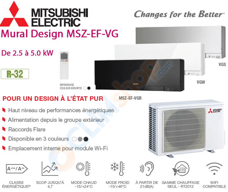 Présentation gamme split Mitsubishi EF-VG R32
